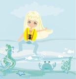 Lycklig flicka i lifejacket Fotografering för Bildbyråer
