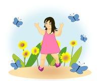 Lycklig flicka i trädgården Fotografering för Bildbyråer