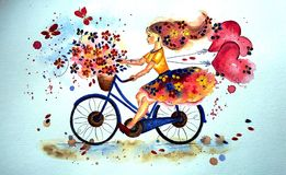 Lycklig flicka på en cykel, vattenfärgteknik Royaltyfri Foto