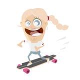Lycklig flicka på skateboarden Royaltyfri Foto