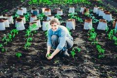 Lycklig flicka som planterar en grönsakträdgård Arkivfoton
