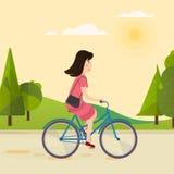 Lycklig flicka som rider en cykel stock illustrationer