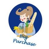 Lycklig flicka som rymmer två pappers- shoppingpåsar, bröd Fotografering för Bildbyråer