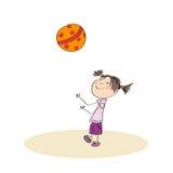 Lycklig flicka som spelar med bollen vektor illustrationer