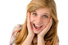 Lycklig flicka som uttrycker hennes glade sinnesrörelser Fotografering för Bildbyråer