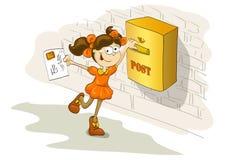 Lycklig flicka som överför brevet till den kära vännen Arkivfoton