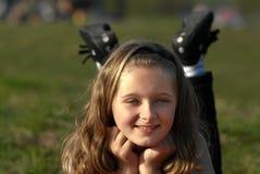 lycklig flicka utomhus Royaltyfri Fotografi