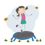 Lycklig flickabanhoppning på trampolinen vektor illustrationer