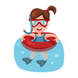 Lycklig flickasimning med den uppblåsbara boj- och snorkeldykapparatmaskeringen, unge som är klar att simma och dyka det färgrika stock illustrationer