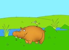 Lycklig flodhäst royaltyfri illustrationer