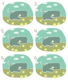 Lycklig flodhästvisuellt hjälpmedellek stock illustrationer