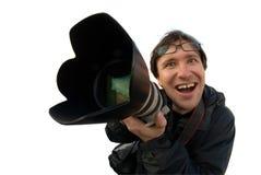 lycklig fotograf Fotografering för Bildbyråer