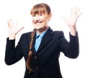 lycklig framgångskvinna för affär Royaltyfri Fotografi