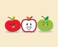 Lycklig framsida för gulligt äpple Royaltyfri Foto