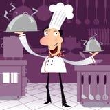 Lycklig fransk kock i köket Royaltyfria Foton