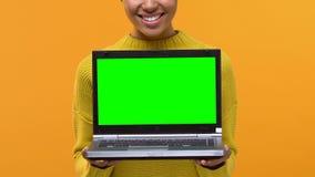 Lycklig freelancerinnehavbärbar dator med den gröna skärmen, online-applikation, grej lager videofilmer