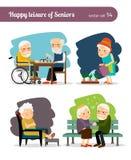 Lycklig fritid för pensionärer stock illustrationer