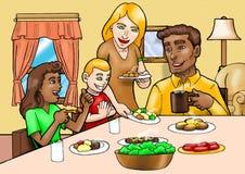 lycklig frukostfamilj stock illustrationer