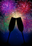 Lycklig fyrverkerichampagne för nytt år Arkivbild