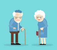 Lycklig gamal man och kvinna med exponeringsglas och walkinsrottingen På blå bakgrund Plan illustartion 10 eps Arkivbilder
