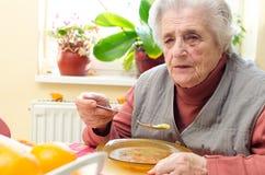 Lycklig gammal grå färg-haired kvinna Arkivbilder