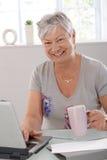 Lycklig gammalare kvinna med bärbar dator Arkivfoto