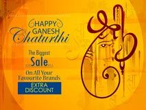Lycklig Ganesh Chaturthi festivalberöm av Indien som shoppar Sale annonseringbakgrund Royaltyfri Foto