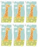 Lycklig giraffvisuellt hjälpmedellek vektor illustrationer