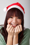 Lycklig gladlynt julflicka arkivfoto