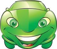 Lycklig grön bil Arkivbild