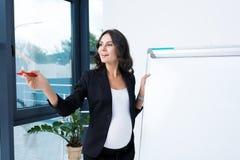 lycklig gravid affärskvinna med tom whiteboard och rött arkivbild