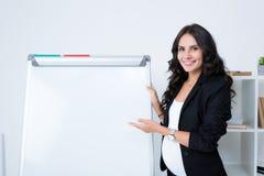 lycklig gravid affärskvinna som pekar på den tomma whiteboarden och att se royaltyfri fotografi