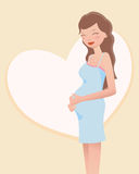 lycklig gravid kvinna royaltyfri illustrationer
