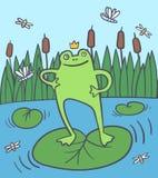 Lycklig groda i det rushy träsket med flugor, slända stock illustrationer