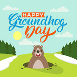 Lycklig Groundhog dag vektor illustrationer