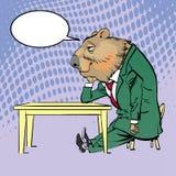 Lycklig Groundhog dag Bokstäverhälsning Sittande ledsna Groundhog Arkivfoto
