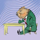 Lycklig Groundhog dag Bokstäverhälsning Sittande ledsna Groundhog Royaltyfri Bild