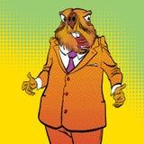 Lycklig Groundhog dag Förvånad groundhog Arkivbild