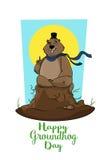 Lycklig Groundhog dag Murmeldjur som försöker att förutsäga väder Vykort baner Arkivbild