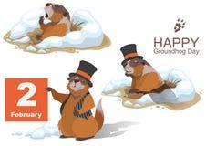 Lycklig Groundhog dag Murmeldjur som rymmer Februari 2 vektor illustrationer