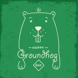Lycklig Groundhog dag Vektorillustration med grounhog Arkivbild