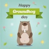Lycklig Groundhog dag Vektorillustration med grounhog Fotografering för Bildbyråer