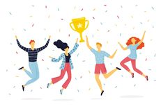 Lycklig grupp m?nniskor som hoppar f?r gl?dje och rymmer upp att segra koppen stock illustrationer