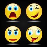 Lycklig gul leendesymbol för fastställt leende, vektor stock illustrationer