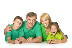 lycklig gullig familj Arkivfoto