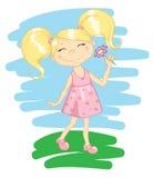 Lycklig gullig flicka stock illustrationer