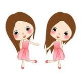 Lycklig gullig flicka i Rose Pink Dress Kvinnadans På vitbakgrund Arkivbild