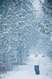 Lycklig gullig kvinna i Forest Enjoying Winter royaltyfri foto