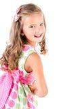 Lycklig gullig liten flicka i den isolerade prinsessaklänningen Royaltyfri Foto