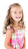 Lycklig gullig liten flicka i den isolerade prinsessaklänningen Arkivfoto